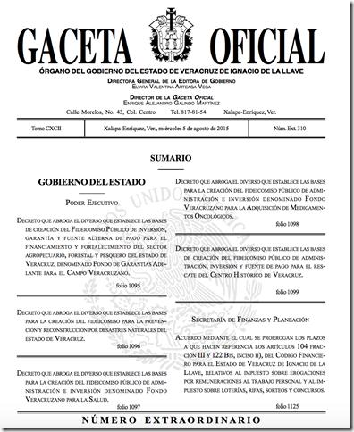 PRÓRROGA AVISO Y ENTREGA DICTAMENES #VERACRUZ NOMINAS, LOTERIAS  GACETA DEL 5/08/2015