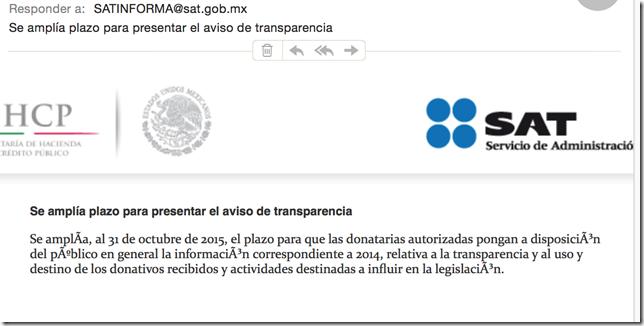 SE amplía plazo para AVISO DE TRANSPARENCIA DONATARIAS AUTORIZADAS 31 OCTUBRE 2015